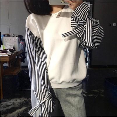 ~BG ~chic 風綁帶條紋袖子拼接寬鬆白色女衛衣
