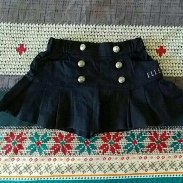 ELLE 深藍色女寶寶女童學院風百折褲裙90cm