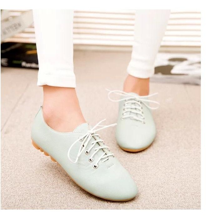 新品平底板鞋平跟豆豆鞋女鞋子系帶低幫鞋單鞋 舒適淺口 鞋