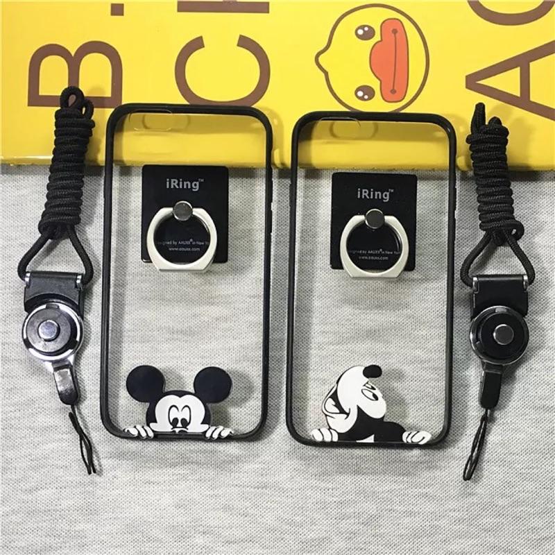 iphone7 日韓iphone6s plus 米奇手機殼掛繩指環支架蘋果4 5s 掛脖保