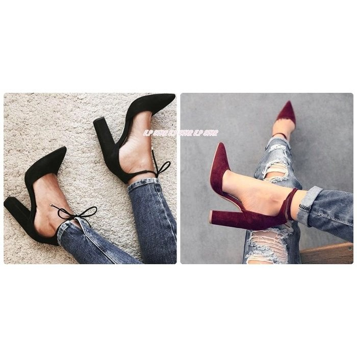 ~E P STAR ~ 麂皮絨面小尖頭淺口腳踝綁帶繞帶繫帶環帶簍空粗跟尖頭涼拖鞋包鞋高跟鞋