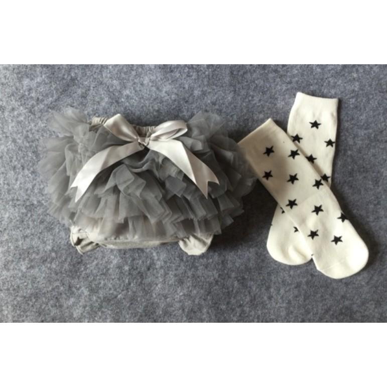 女寶寶蕾絲軟紗純棉包屁褲蝴蝶結小裙褲四色 中筒襪 出貨