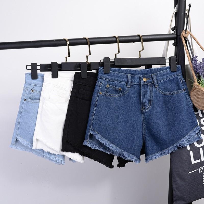 新貨尊享價牛仔短褲牛仔褲褲子胖寬鬆大碼毛邊 破洞顯瘦