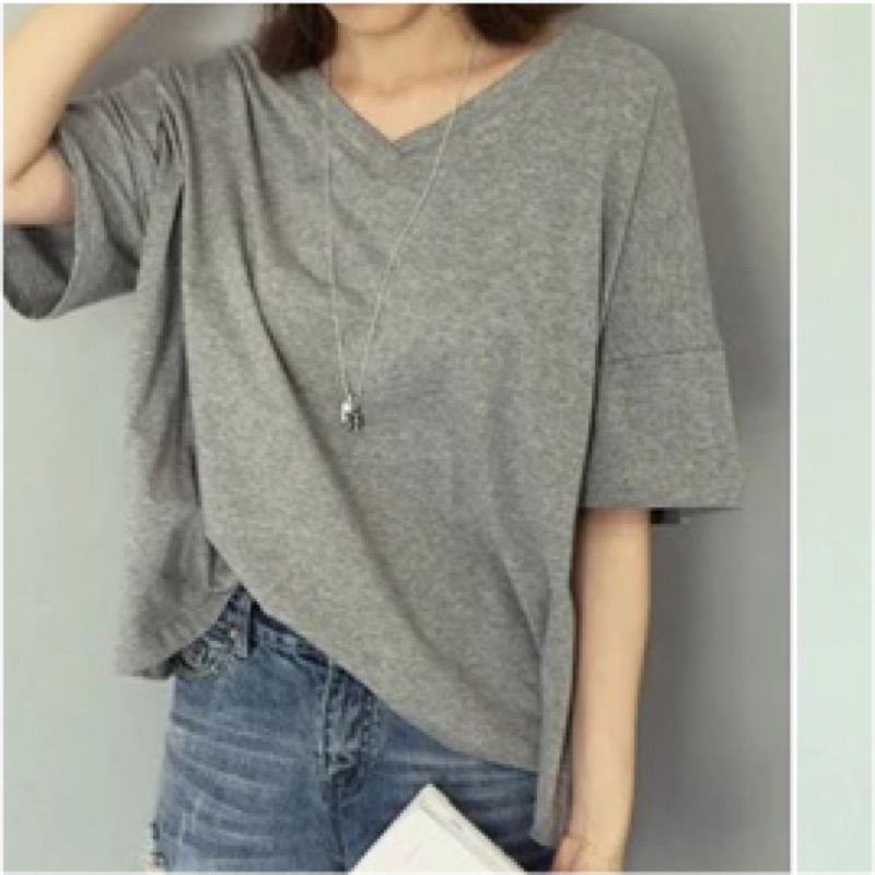 大V 領T 恤五分落肩袖純色短袖寬鬆休閒上衣
