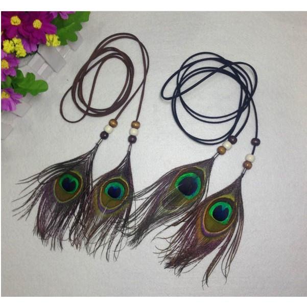 ~MALUCO ~波西米亞印地安民族風 製作簡約 孔雀羽毛兩用流蘇髮帶腰帶皮帶腰鍊直購11