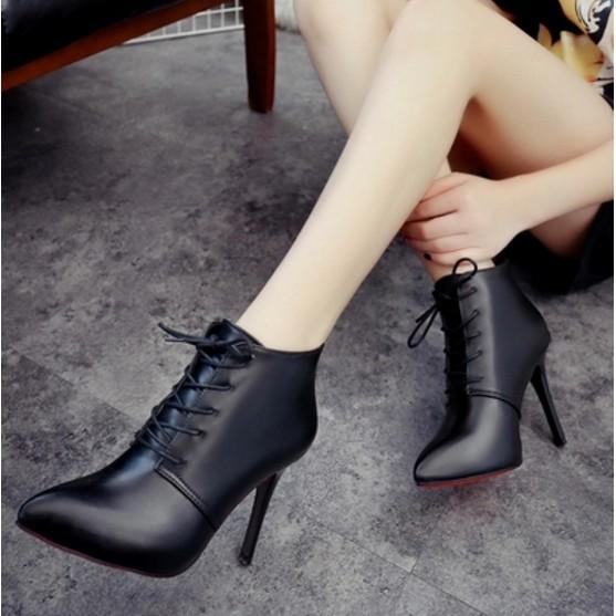 秋 加絨短靴 系帶女式細跟高跟鞋子女士尖頭馬丁靴