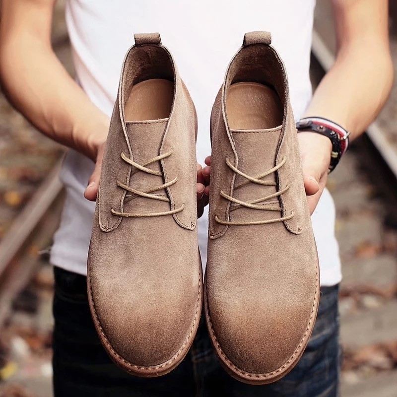馬丁靴男靴英倫風復古 短靴高幫鞋真皮工裝靴加絨男鞋沙漠靴