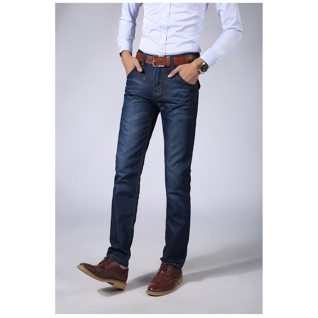 男士牛仔褲青年男式修身 潮流冬天直筒休閒長褲子