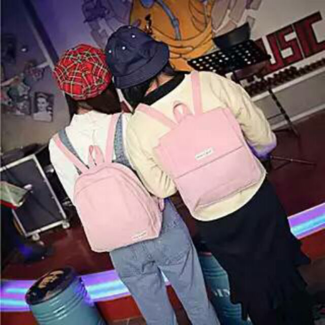 稻 閨蜜百搭純色帆布書包學生雙肩包