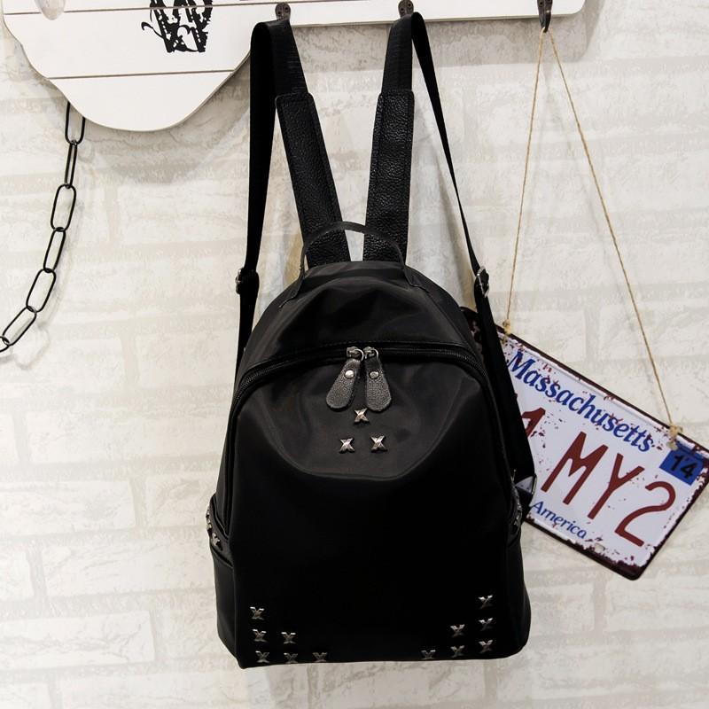 宋慧喬同款包 雙肩包鉚釘牛津布休閒百搭背包男女用防潑水輕便旅行包