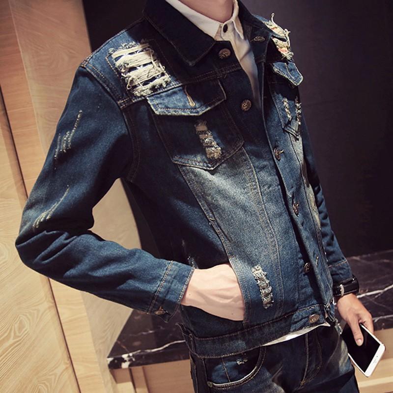 日系復古秋 男士外穿 休閒破洞牛仔外套修身夾克男上衣服潮