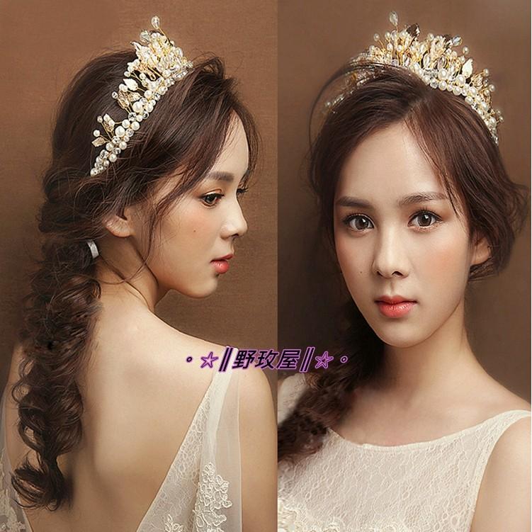 ~~║野玫屋║~~新娘飾品婚紗禮服 攝影舞台配飾歐式巴洛克新娘金色葉子 水晶大皇冠