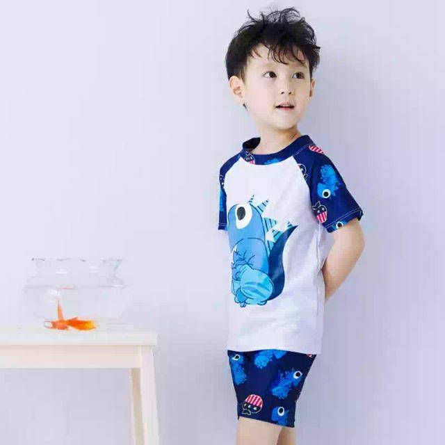 白色恐龍兒童泳衣男童遊泳衣白色防曬兒童泳裝泳帽寶寶小孩五分泳褲