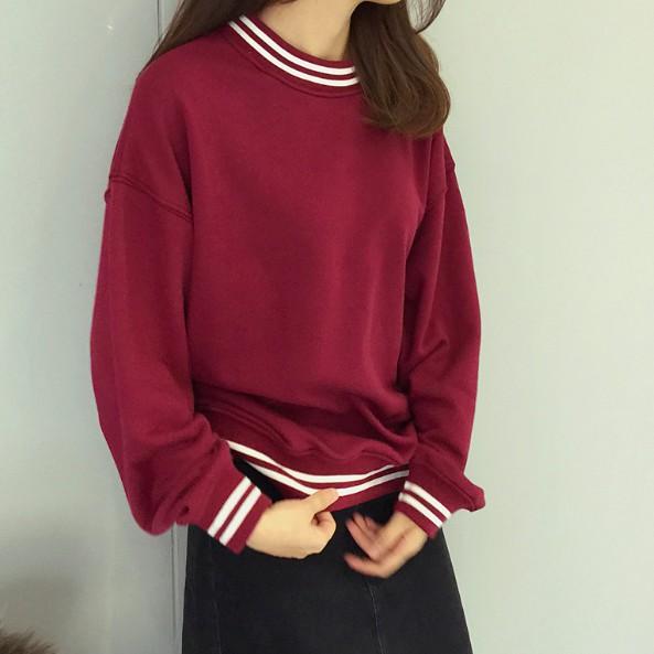 ~ ~春秋 女裝韓式休閒寬松百搭純色拼接衛衣套頭學生打底上衣潮女