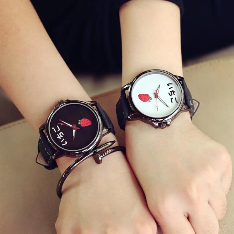 韓國原宿zipper 簡約風手錶可愛潮流學生錶韓國錶水果錶 錶卡通錶草莓大學生韓國三眼錶藍