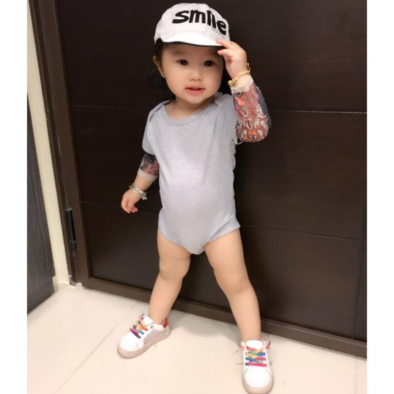 曈曈Baby INS 新品嬰兒春 長袖紋身印花純棉哈衣爬服包屁衣
