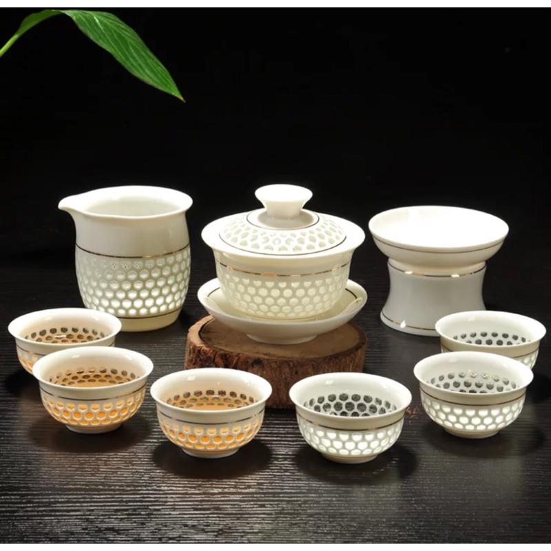 玲瓏茶具整套蜂巢式透明茶具組
