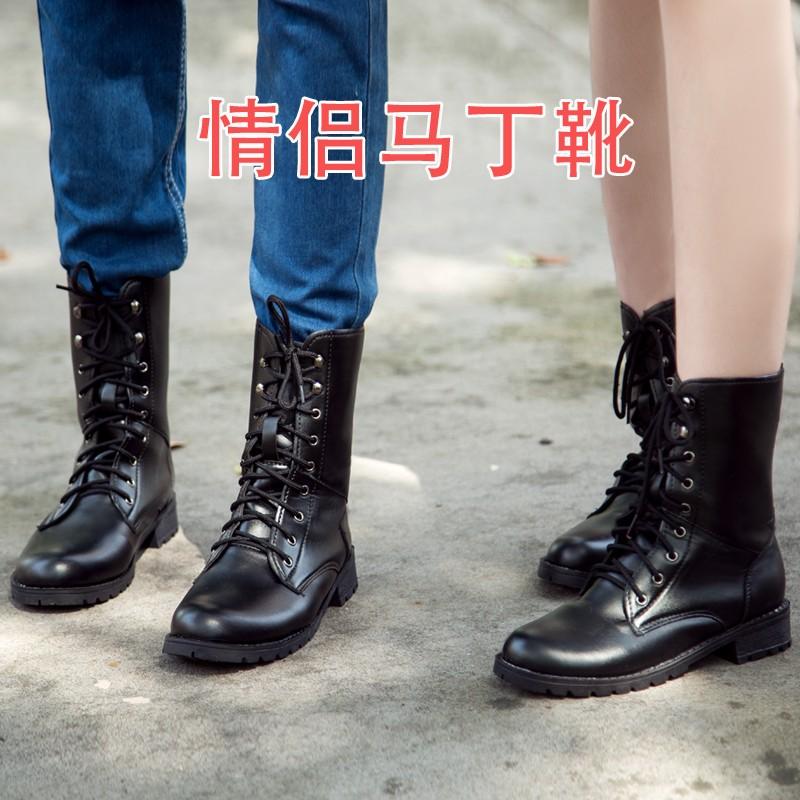 款 黑色大碼系帶情侶馬丁靴平底短靴厚底學生靴子