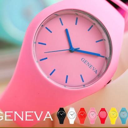 GENEVA 超薄矽膠腕錶馬卡龍色系男錶女錶中性錶兒童錶對錶B263