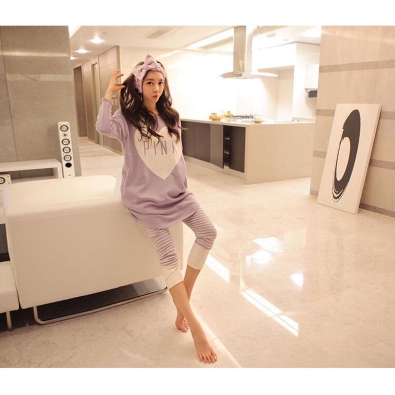 春秋 純棉質睡衣長袖家居服可外穿套裝❤️甜美可愛紫色愛心