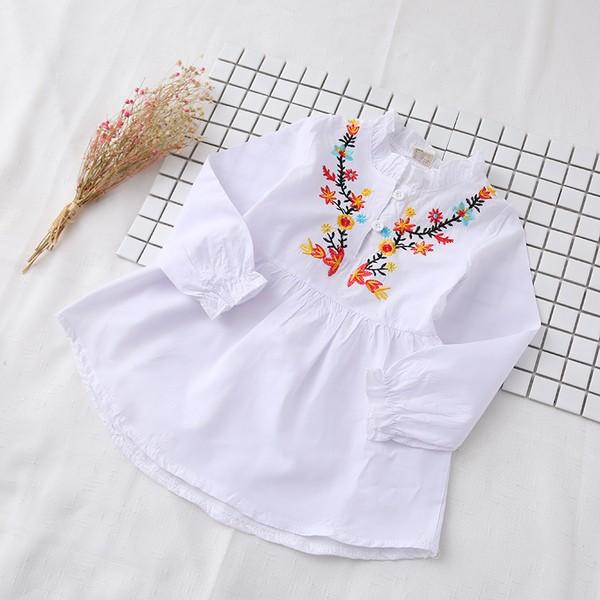 ~女童春裝0222 ~中國風花朵刺繡小立領甜美上衣