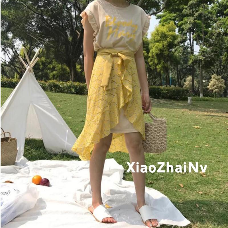 2017 洋裝套裝 拉風印花小碎花不規則 針織短袖T 恤蕾絲裙套裝