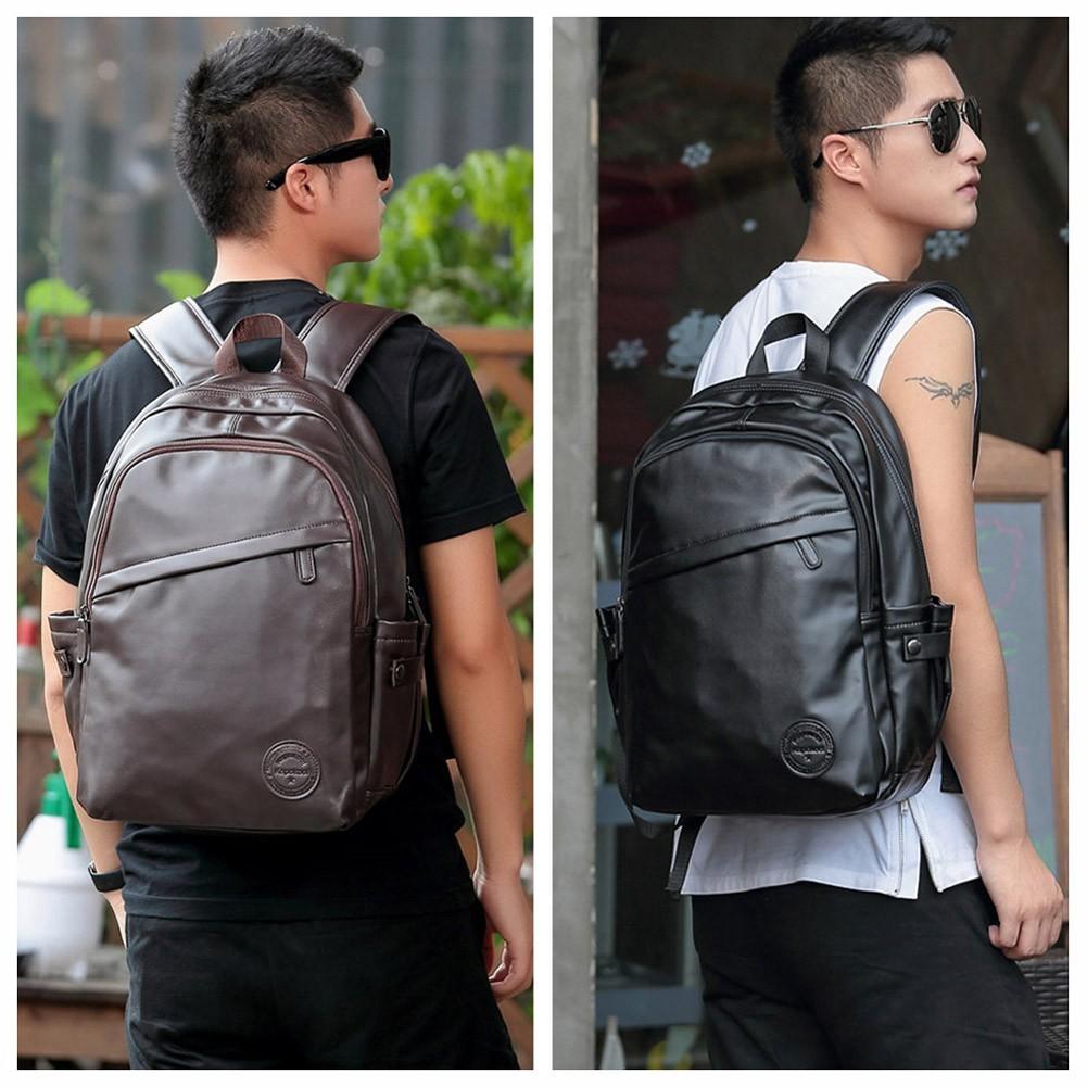 男士 雙肩包 純色PU 拉鏈閉合多 口袋大容量 風學生書包潮流背包
