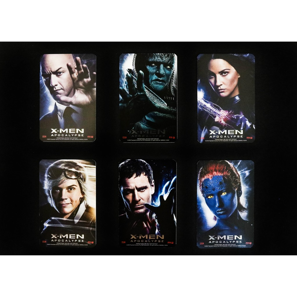 X 戰警X men 會反光天啟電影 全套6 張收藏卡隱藏版靈蝶萬磁王魔形女X 教授快銀天啟
