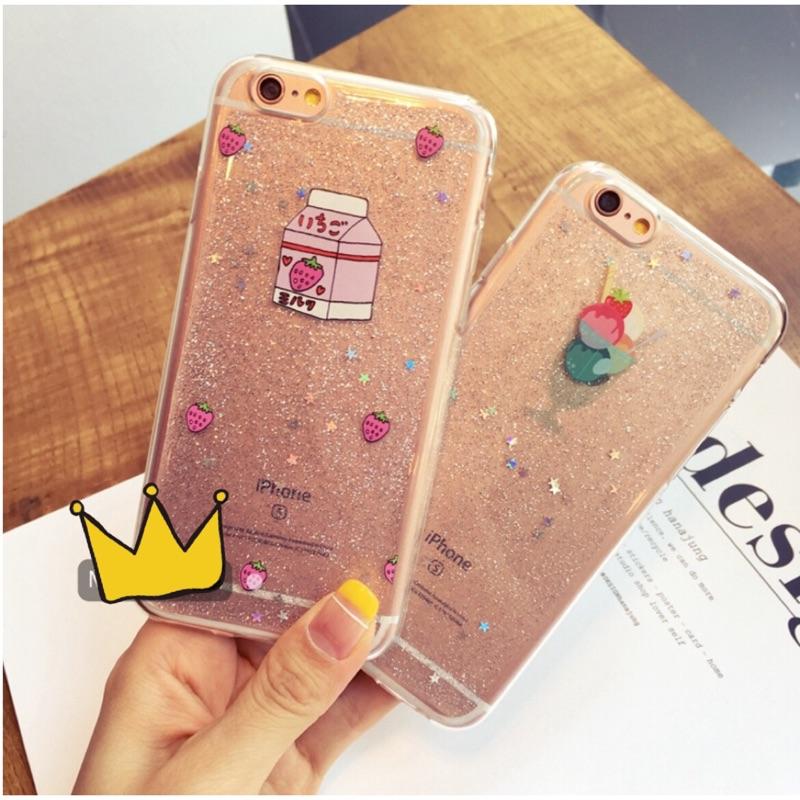 小清新草莓牛奶雪球iphone6 iphone6plus 手機保護套手機殼