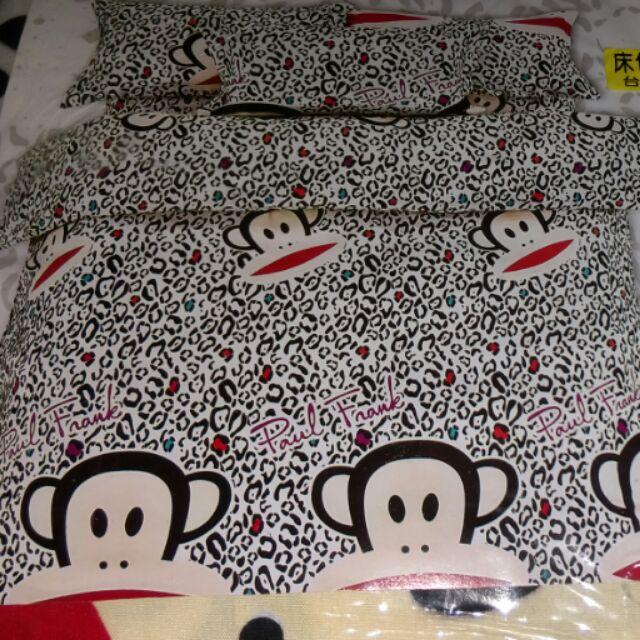 夏日款大嘴猴單人床包一個枕頭套