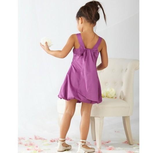歐款紫色典雅蝴蝶結燈籠裙小禮服背心裙洋裝婚禮喜宴花童禮服鋼琴檢定服