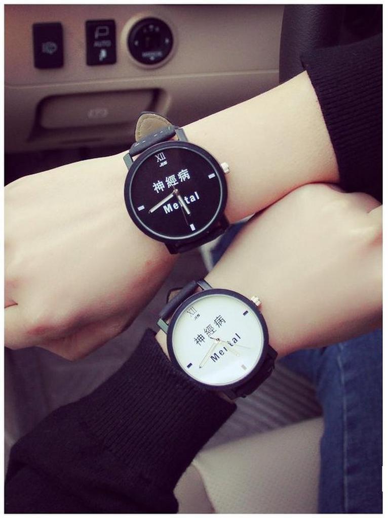 韓國 大表盤情侶對錶神經病學生男女手表文字控原宿復古手錶生日送禮