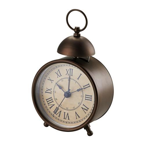 ikea 打鈴鬧鐘機戒式鬧鐘復古鬧鐘時鐘可懸掛指針秒針可掛可擺放鬧鈴棕色