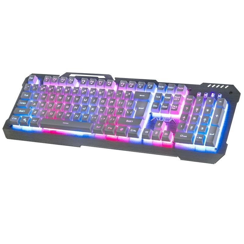 ~小人國衣鋪~狼蛛斬月背光懸浮式機械手感鍵盤電腦有線發光LOL 游戲金屬鍵盤CF