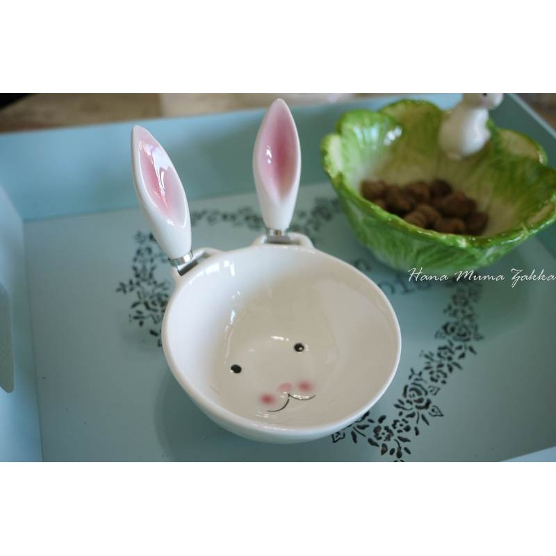 奶油刀兔子白色碗耳朵陶瓷抹刀果醬童話野餐露營餐具復古雜貨童趣可愛花木馬 雜貨