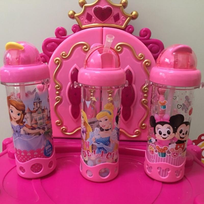 1 2 美人魚 迪士尼公主蘇菲亞米奇米妮閃電麥坤500ml 吸管滑蓋兒童吸管水壺防漏不含雙