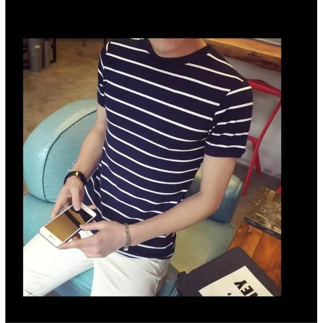 KW 港仔日系印花短袖T 恤男士清新學院風半袖打底衫青少年潮男裝