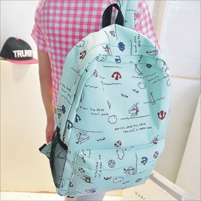~帆船塗鴉後背包~ 側背包肩背手提包書包旅行包皮夾束口包後背包包