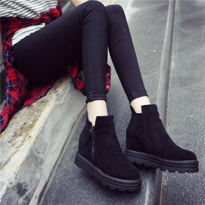 歐洲站女鞋 磨砂松糕厚底內增高短靴女靴馬丁靴拉鏈短筒靴