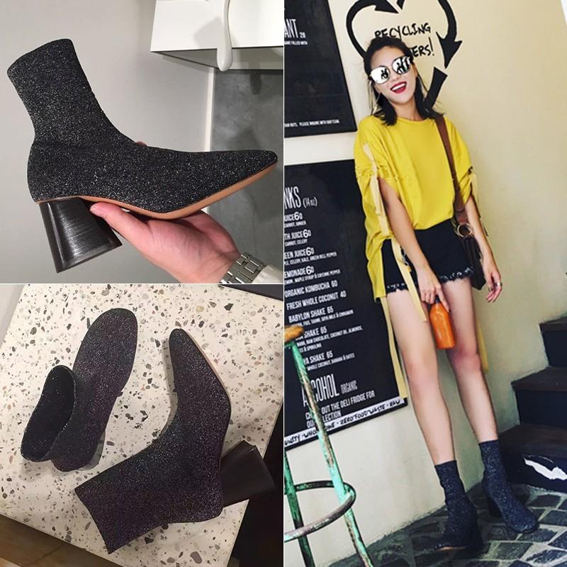 2016 秋 明星同款瘦腿彈力靴粗跟中筒短靴襪靴高跟馬丁靴子女潮