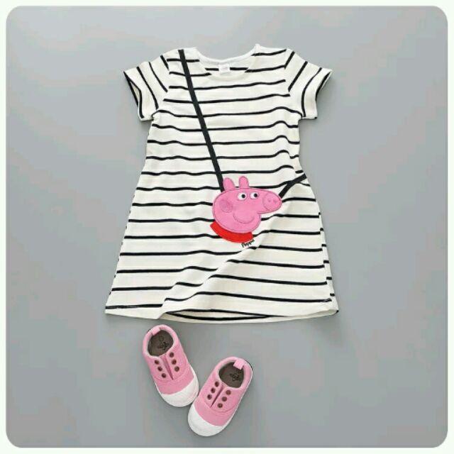 ~女童寶寶最愛佩佩豬粉紅豬條紋短袖連身洋裝