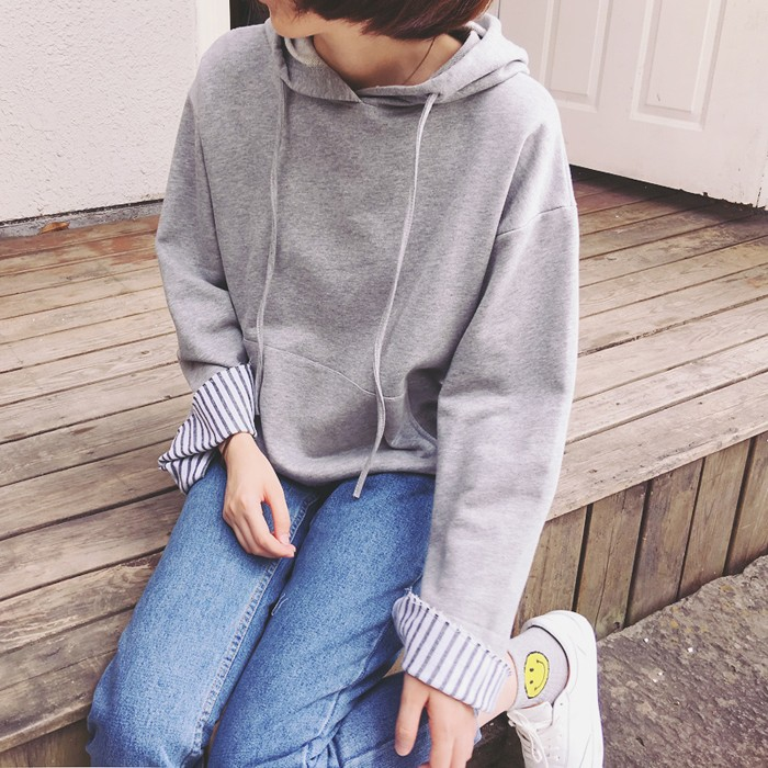韓系袖加長開叉條紋內襯長袖棉質連帽T 恤上衣4 色