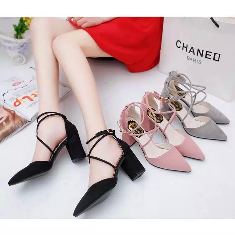 2016 女款中高跟粗跟 交叉綁帶涼鞋女鞋包頭單鞋性感 尖頭單鞋潮