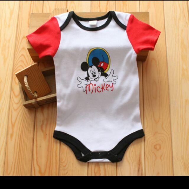 米嬰兒米奇連體衣夏裝包屁衣三角哈衣短袖純棉