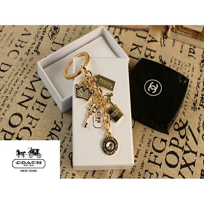 ~ 帆帆~COACH 專櫃 版皇冠寶石鑽石土豪金玫瑰金二色鑰匙扣箱包掛件吊飾 附 盒