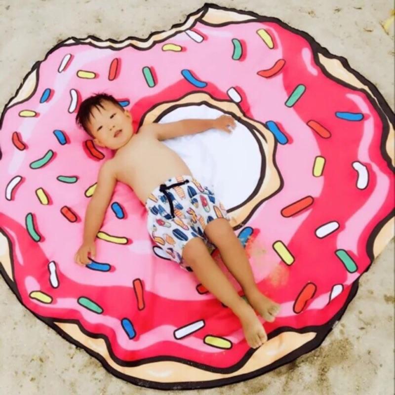 上新聞的甜甜圈漢堡薯條披薩野餐墊沙灘巾披肩超細纖維甜甜圈 速乾 大毛巾浴巾
