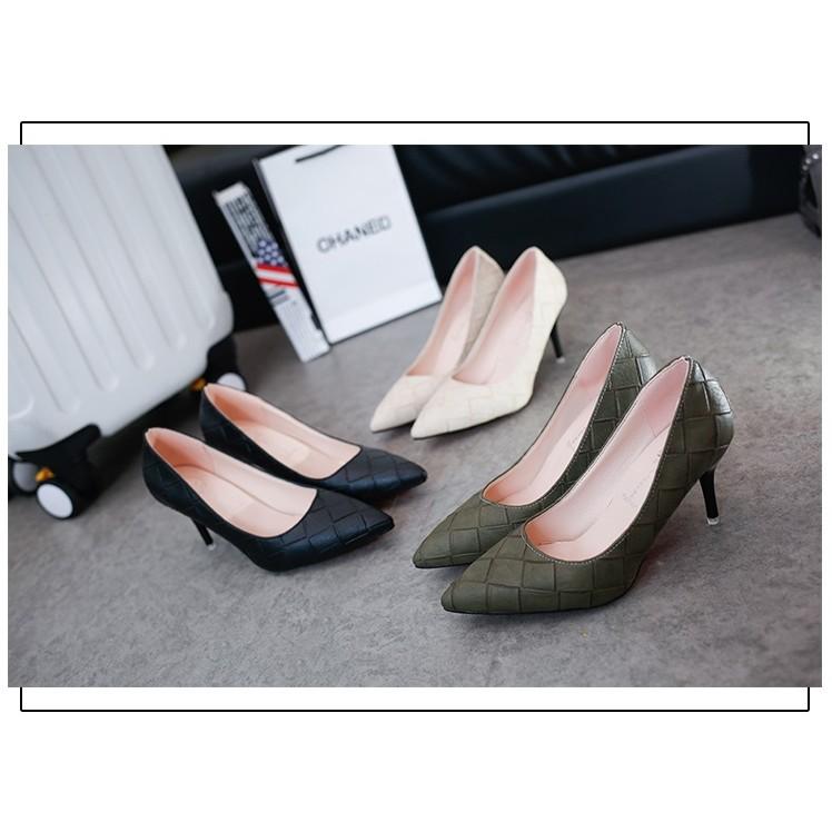 春秋 女鞋子尖頭單鞋中跟女士皮鞋黑色高跟鞋細跟優雅職業