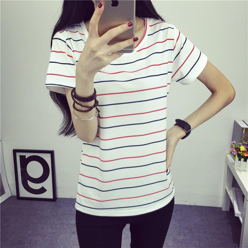 短袖t 恤女 清晰條紋白色寬松上衣打底衫2016 春夏裝 體恤衫T 恤短袖T 恤七分袖T