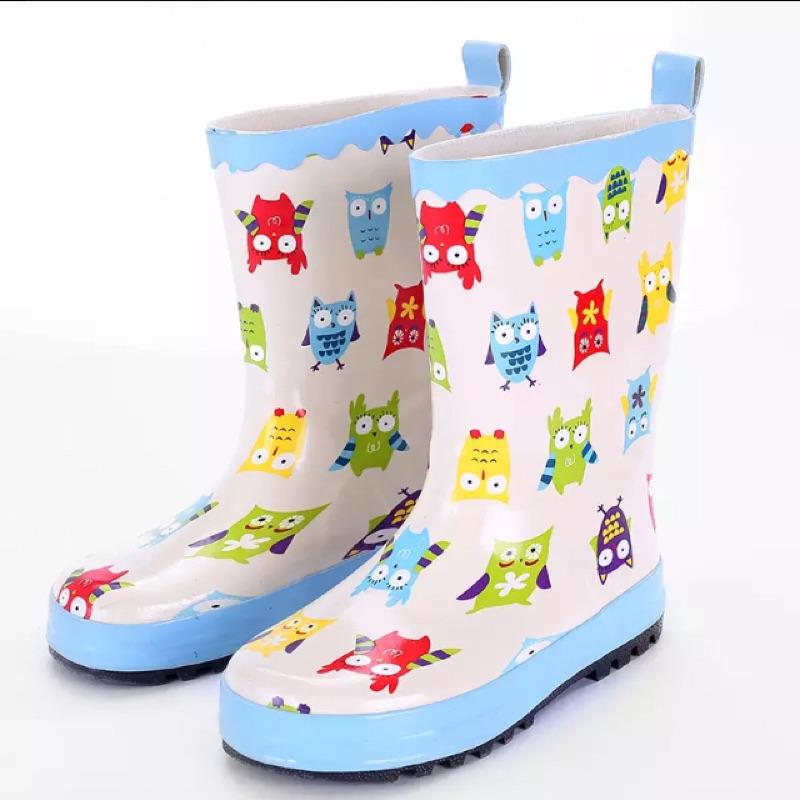 巴童 兒童雨靴寶寶雨靴卡通貓頭鷹雨靴雨鞋橡膠雨鞋防滑