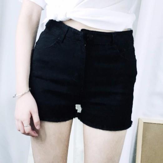 正韓韓系 潮流 百搭顯瘦黑白兩色毛邊彈力牛仔短褲 大碼女生高腰熱褲